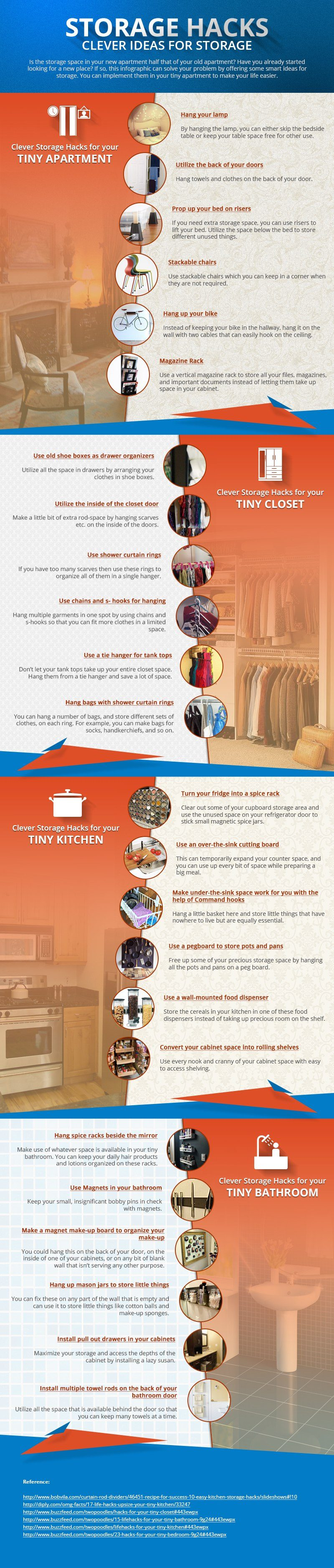 24 Tips To Create More Space in your Small Home  (Infographic) Infographics Latest Posts