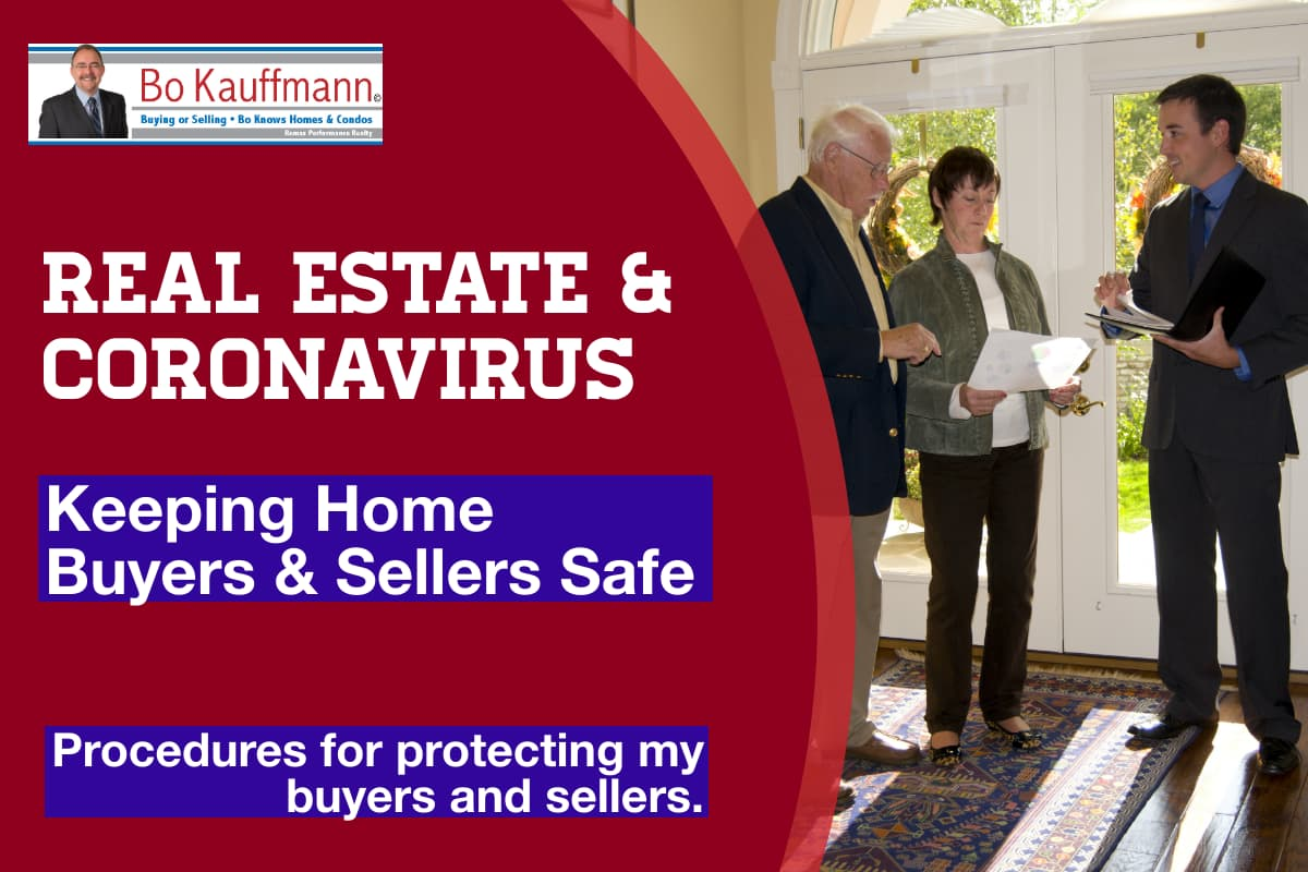 Real estate agent with clients, discussing coronavirus protection